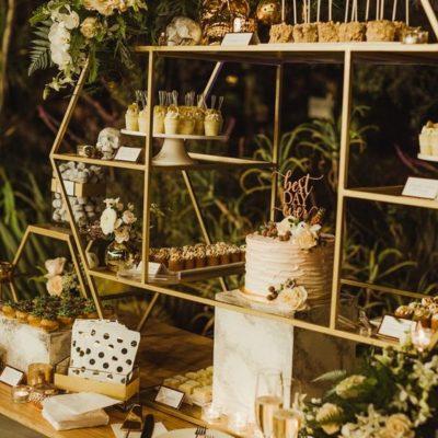 Hexagon Wedding Food Decor - Pinterest - Plum Crazy Agency