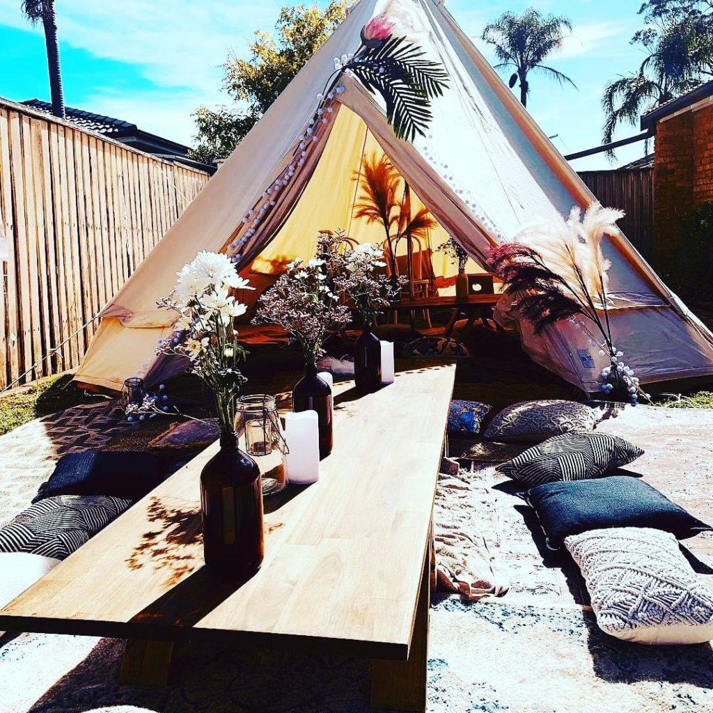 Boho tent picnic hire | Plum Crazy Agency